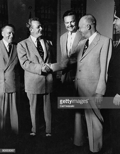 Arthur E. Summerfield, Everett M. Dirksen, Henry Cabot Lodge Jr., Dwight D. Eisenhower and Richard M. Nixon, conferring on Repub. Presidential...