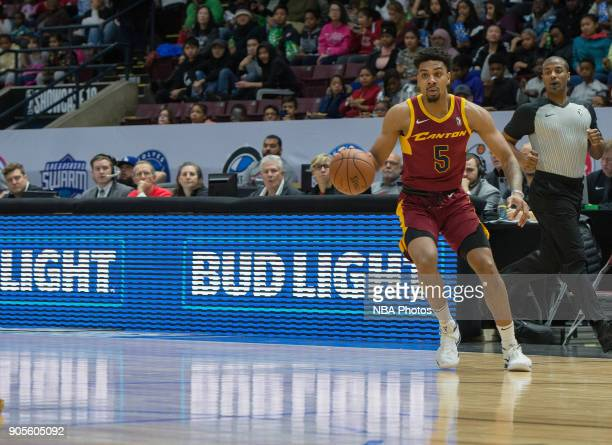 Arthur Edwards of the Canton Charge dribbles the ball against the Northern Arizona Suns during the NBA GLeague Showcase on January 12 2018 at the...