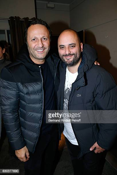 Arthur Essebag and Jerome Commandeur pose Backstage after the triumph of the 'Dany De Boon Des HautsDeFrance' Show at L'Olympia on December 15 2016...
