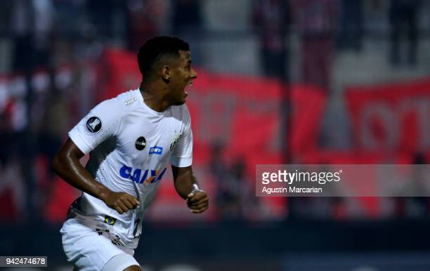 Arthur Gomes of Santos celebrates after scoring the first goal of his team during a match between Estudiantes and Santos as part of Copa CONMEBOL...