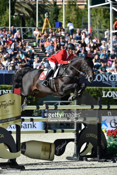 Arthur Gustavo Da Silva of Switzerland riding Inonstop Van T Voorhof during Longines FEI Jumping Nations Cup Final Competition on October 7 2018 in...