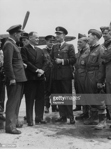 Arthur Henderson Baron Rowley the Secretary of State for Air inspects the Wunstorf Air Base in Germany during the Berlin Airlift 14th July 1948 He is...