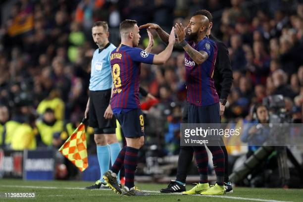 Arthur Henrique Ramos de Oliveira Melo of FC Barcelona Arturo Vidal of FC Barcelona during the UEFA Champions League quarter final match between FC...