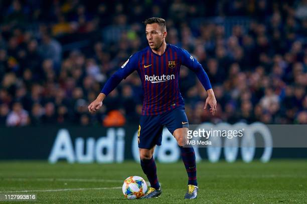 Arthur Henrique Ramos de Oliveira Melo of FC Barcelona in action during the Copa del Rey Semi Final match between Barcelona and Real Madrid at Nou...