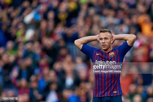 Arthur Henrique Ramos de Oliveira Melo of FC Barcelona reacts during the La Liga match between FC Barcelona and Real Madrid CF at Camp Nou on October...