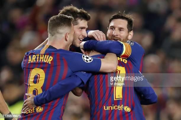 Arthur Henrique Ramos de Oliveira Melo of FC Barcelona Sergi Roberto of FC Barcelona Philippe Coutinho of FC Barcelona Lionel Messi of FC Barcelona...