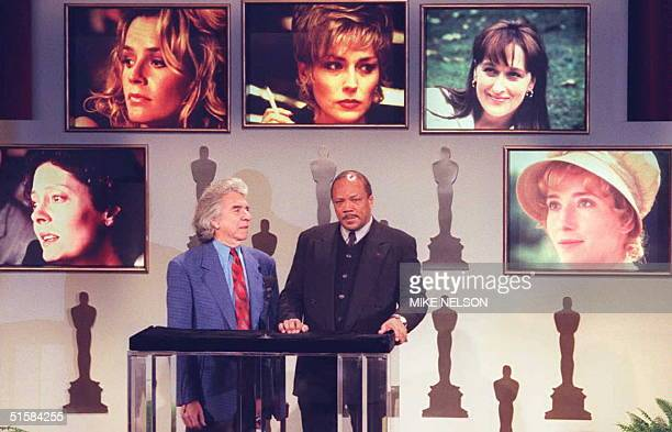 Arthur Hiller President of the Academy of Motion Picture Arts and Sciences and composer Quincy Jones who will produce the 68th Academy Awards...