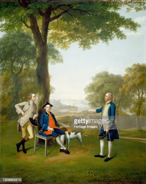 Arthur Holdsworth Conversing with Thomas Taylor and Captain Stancombe by the River Dart, 1757. Artist Arthur Devis. .