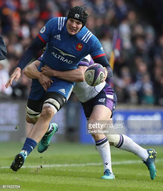 Arthur Itturia of France is tackled by Hamish Watson during the Six Nations match between Scotland and France at Murrayfield on February 11 2018 in...