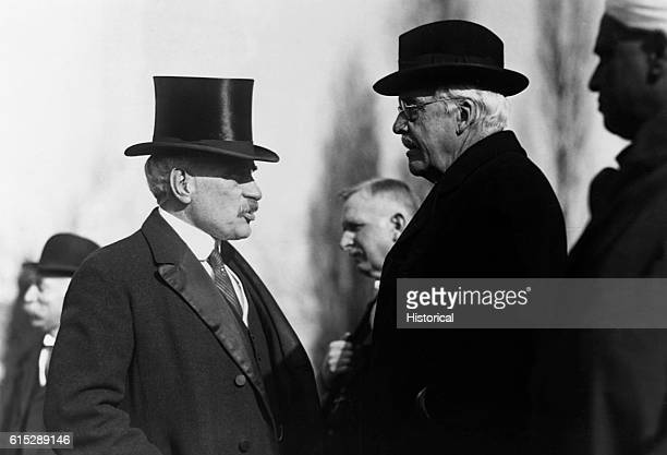 Arthur James Balfour and Sir Robert Laird Borden delegates to the Washington Disarmement Conference of 19211922 speak together Balfour was British...
