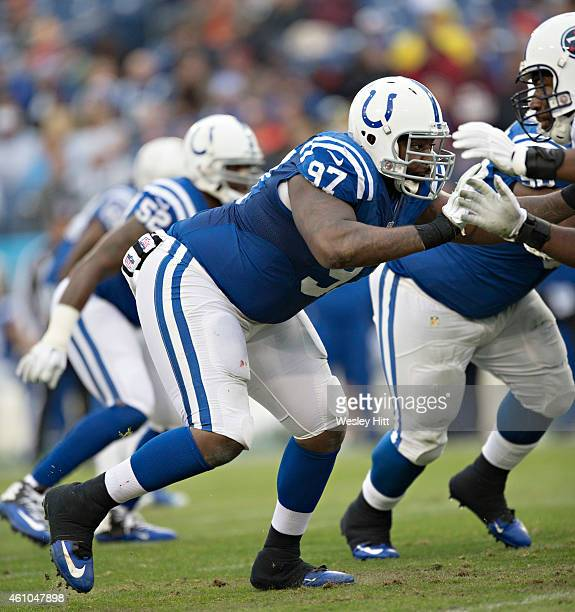 Arthur Jones of the Indianapolis Colts at the line of scrimmage during the first quarter of a game against the Tennessee Titans at LP Field on...