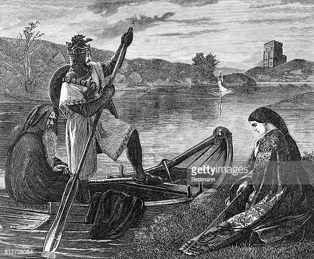 King Arthur obtains the sword Excalibur Undated woodcut