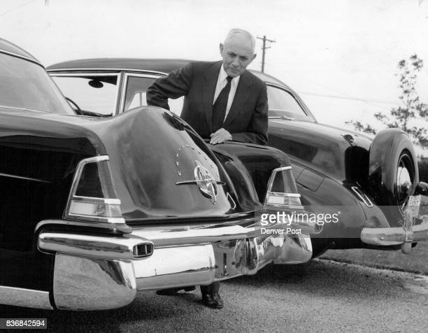 Arthur Kumpf president of the Kumpf Motor Co compares the body designs of Lincoln's new Continental Mark II and the Continental Mark I which he said...