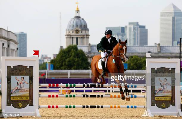Arthur Lanigan O'Keefe of Ireland riding Wilcox competes in the Riding Show Jumping during the Men's Modern Pentathlon on Day 15 of the London 2012...