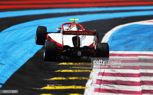 Arthur Leclerc of Monaco and Prema Racing goes wide during qualifying ahead of Round 2:Le Castellet of the Formula 3 Championship at Circuit Paul...
