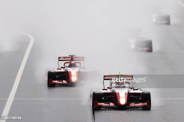 Arthur Leclerc of Monaco and Prema Racing leads Dennis Hauger of Norway and Prema Racing and the rest of the field at the start during Round...