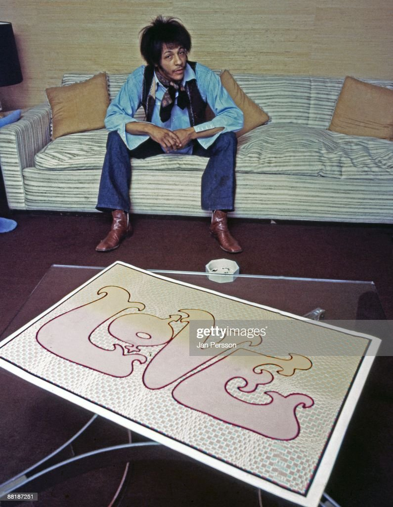Arthur Lee from the band Love posed in his hotel room in London, 1970