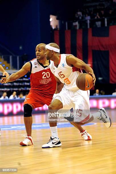 Arthur Lee of CEZ Nymburk and Joe smith of Lauretana Biella in action during the Eurocup Basketball Regular Season 20092010 Game Day 1 between...