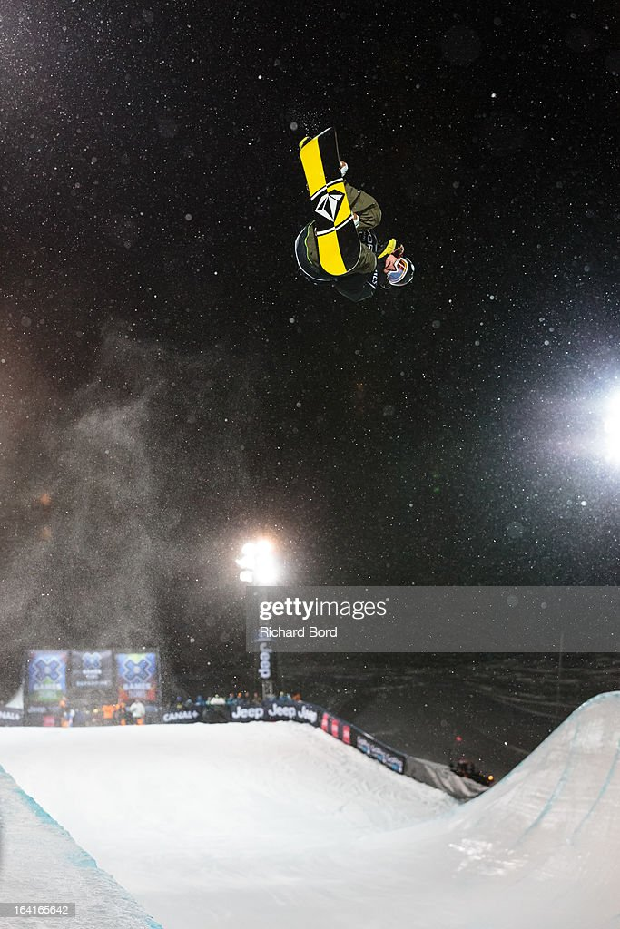 Arthur Longo of France performs as he qualifies sixth during the Men's Snowboard Superpipe elimination during day three of Winter X Games Europe 2013 on March 20, 2013 in Tignes, France.