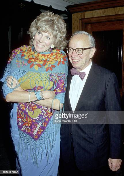 Arthur M Schlesinger Jr and wife Alexandra during Debate at Tavern on the Green at Tavern on the Green in New York City New York United States
