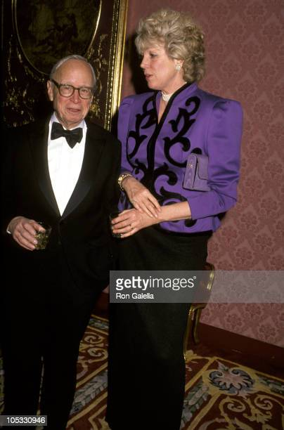 Arthur M Schlesinger Jr and wife Alexandra during The American Academy of Dramatic Arts Honors Julie Harris at The Plaza Hotel in New York City New...