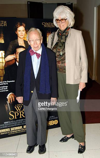 Arthur M Schlesinger Jr and wife Alexandra during 'Warm Springs' New York Premiere at Time Warner Theater in New York City New York United States