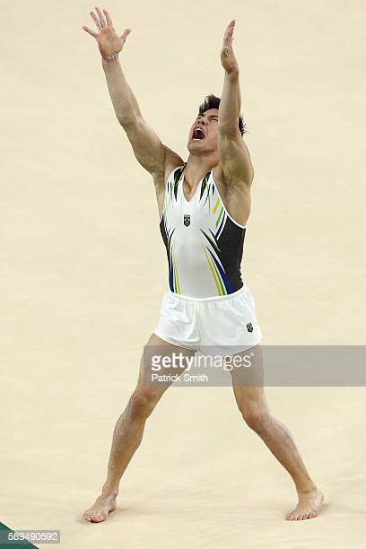 Arthur Mariano of Brazil competes in the Men's Floor Exercise Final on Day 9 of the Rio 2016 Olympic Games at the Rio Olympic Arena on August 14,...