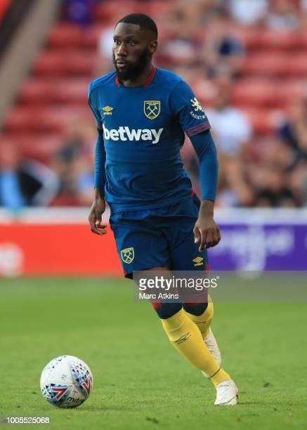 Arthur Masuaku of West Ham during the PreSeason Friendly between Aston Villa v West Ham United at Banks' Stadium on July 25 2018 in Walsall England