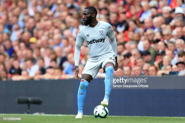 Arthur Masuaku of West Ham in action during the Premier League match between Liverpool and West Ham United at Anfield on August 12 2018 in Liverpool...