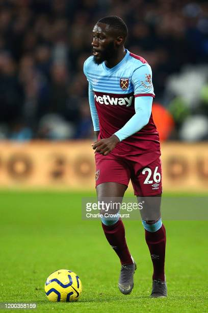 Arthur Masuaku of West Ham in action during the Premier League match between West Ham United and Everton FC at London Stadium on January 18, 2020 in...