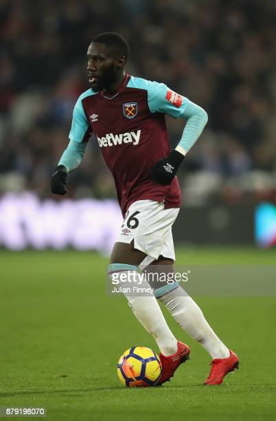 Arthur Masuaku of West Ham in action during the Premier League match between West Ham United and Leicester City at London Stadium on November 24 2017...