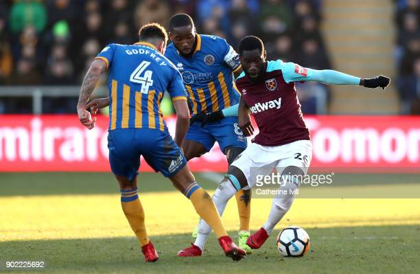 Arthur Masuaku of West Ham United and Ben Godfrey of Shrewsbury Town and Abumere Ogogo of Shrewsbury Town during The Emirates FA Cup Third Round...