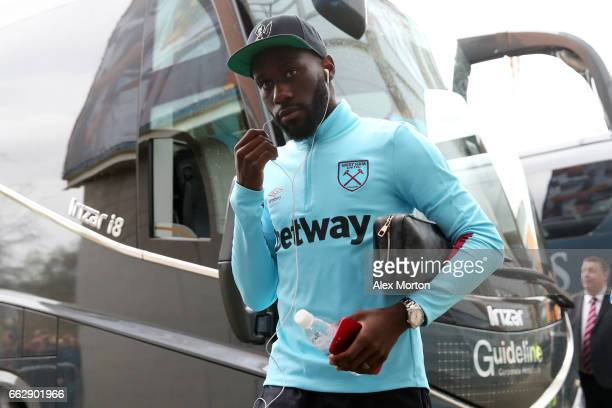 Arthur Masuaku of West Ham United arrives at the stadium prior to prior to the Premier League match between Hull City and West Ham United at KCOM...