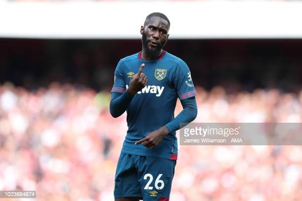Arthur Masuaku of West Ham United during the Premier League match between Arsenal FC and West Ham United at Emirates Stadium on August 25, 2018 in...