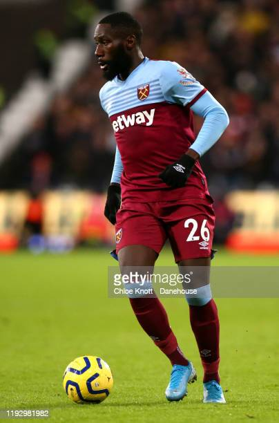 Arthur Masuaku of West Ham United during the Premier League match between West Ham United and Arsenal FC at London Stadium on December 09, 2019 in...
