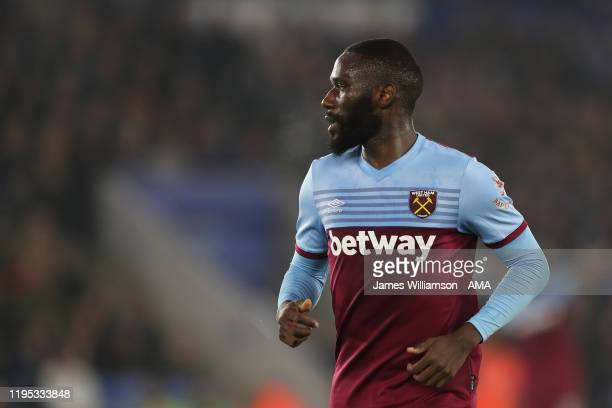 Arthur Masuaku of West Ham United during the Premier League match between Leicester City and West Ham United at The King Power Stadium on January 22,...