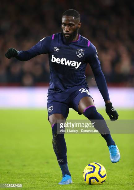 Arthur Masuaku of West Ham United during the Premier League match between Sheffield United and West Ham United at Bramall Lane on January 10, 2020 in...