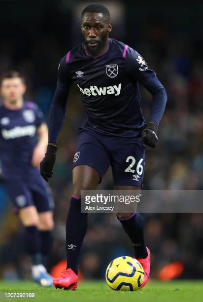 Arthur Masuaku of West Ham United during the Premier League match between Manchester City and West Ham United at Etihad Stadium on February 19, 2020...