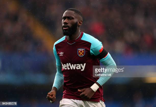 Arthur Masuaku of West Ham United during the Premier League match between Chelsea and West Ham United at Stamford Bridge on April 8 2018 in London...