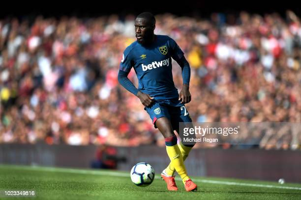 Arthur Masuaku of West Ham United in action during the Premier League match between Arsenal FC and West Ham United at Emirates Stadium on August 25...