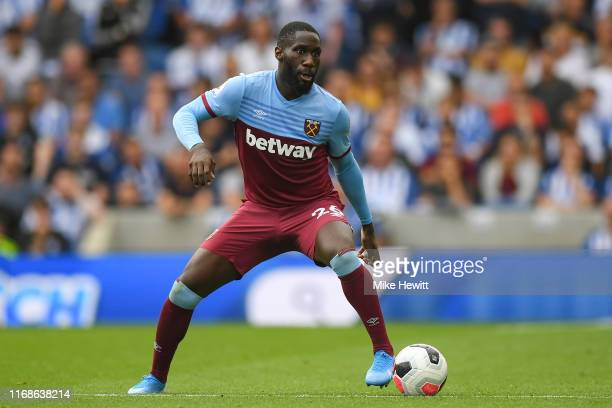 Arthur Masuaku of West Ham United in action during the Premier League match between Brighton & Hove Albion and West Ham United at American Express...