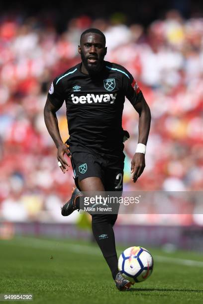 Arthur Masuaku of West Ham United in action during the Premier League match between Arsenal and West Ham United at Emirates Stadium on April 22, 2018...