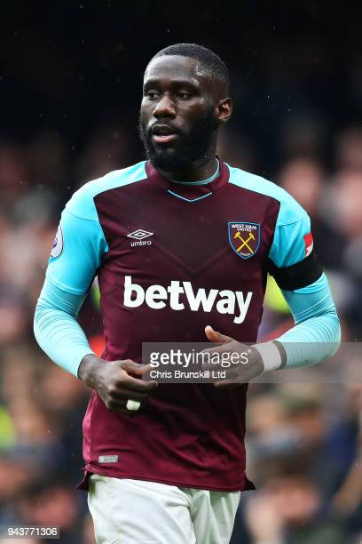 Arthur Masuaku of West Ham United looks on during the Premier League match between Chelsea and West Ham United at Stamford Bridge on April 8 2018 in...