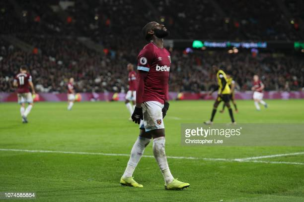 Arthur Masuaku of West Ham United reacts during the Premier League match between West Ham United and Watford FC at London Stadium on December 22 2018...