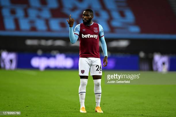 Arthur Masuaku of West Ham United reacts during the Premier League match between West Ham United and Wolverhampton Wanderers at London Stadium on...