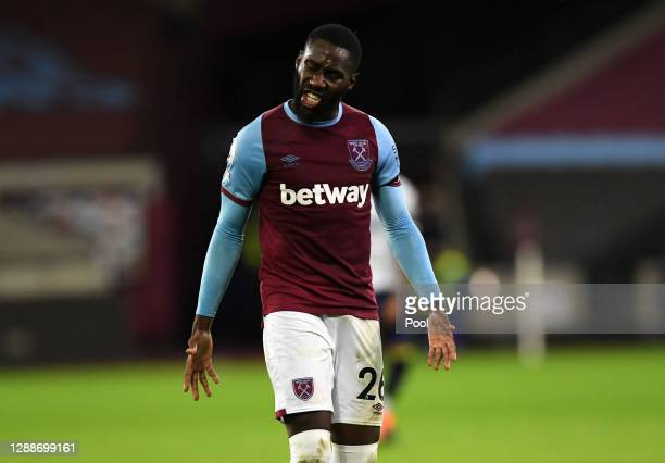 Arthur Masuaku of West Ham United reacts during the Premier League match between West Ham United and Aston Villa at London Stadium on November 30,...