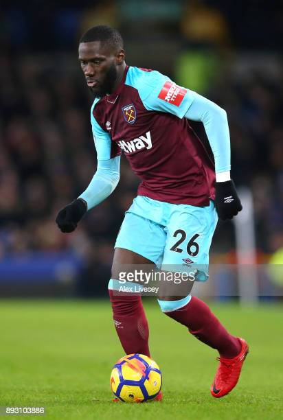 Arthur Masuaku of West Ham United runs with the ball during the Premier League match between Everton and West Ham United at Goodison Park on November...