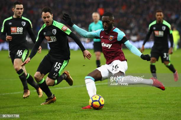 Arthur Masuaku of West Ham United shoots at goal during the Premier League match between West Ham United and AFC Bournemouth at London Stadium on...