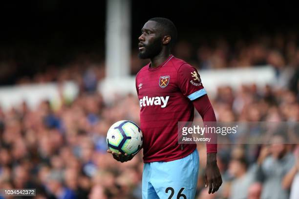 Arthur Masuaku of West Ham United takes a throw in during the Premier League match between Everton FC and West Ham United at Goodison Park on...