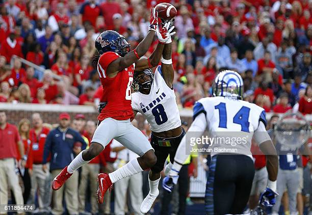 Arthur Maulet of the Memphis Tigers deflects a pass intended for Quincy Adeboyejo of the Mississippi Rebels during the first half of a game at...